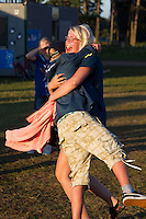 Swedish scouts hugging. Photo: Magnus Fröderberg/Scouterna
