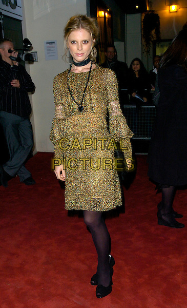 EMILIA FOX.At The British Independent Film Awards, .Hammersnith Palais, Shepherds Bush Road, .London, England, November 29th 2006..Full length black necklace tights shoes gold dress.CAP/CAN.©Can Nguyen/Capital Pictures