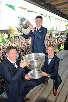 27-9-2014:  Victorious captains,  Senior, Kieran O'Leary and Fionn Fitzgerald,  and Minor captain Liam Kearney at the Kerry Team homecoming in Rathmore, County Kerry last evening.<br /> Picture by Don MacMonagle