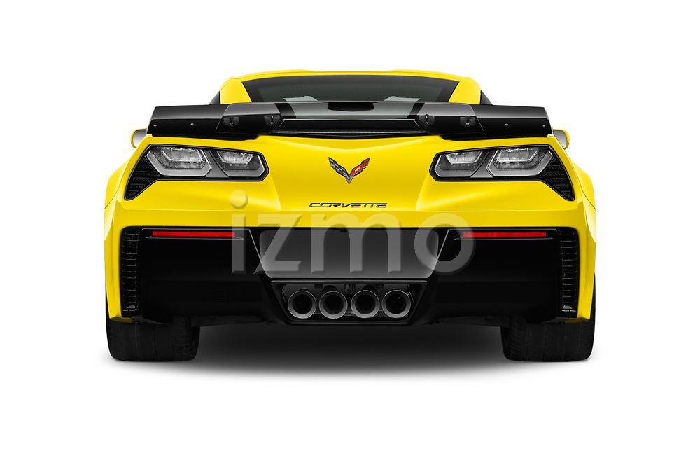 Straight rear view of a 2019 Chevrolet Corvette Z06 Coupe 1LZ 3 Door Targa stock images