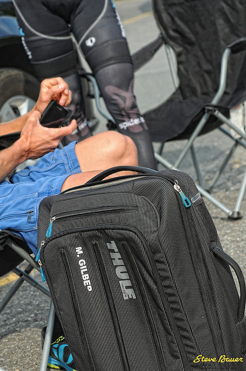 Martin Gilbert's Thule luggage before Stage 1 of the UCI 2.2 Tour de Beauce. Lac-Etchemin-Lac-Etchemin. June 12, 2012. Photo by Brian Hodes/VeloImages