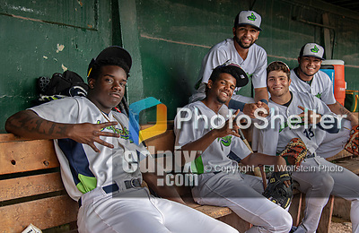21 July 2019: Members of the Vermont Lake Monsters pose for a photo in the dugout prior to a game against the Tri-City ValleyCats at Centennial Field in Burlington, Vermont. The Lake Monsters rallied to defeat the ValleyCats 6-3 in NY Penn League play. Mandatory Credit: Ed Wolfstein Photo *** RAW (NEF) Image File Available ***
