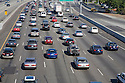 A high angle view of a morning commuter traffic on a northbound Highway 101. Mountain View, California, USA