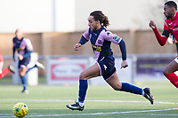 Reisse Allassani of Dulwich Hamlet races behind the home defence during Harlow Town vs Dulwich Hamlet, Buildbase FA Trophy Football at The Harlow Arena on 11th November 2017