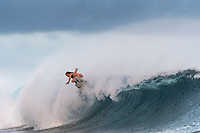 NAMOTU, Fiji (Wednesday, May 31, 2017) Courtney Conlogue (USA) free surfing before the start of the contest.  - After a thrilling opening day at the the Outerknown Fiji Women&rsquo;s Pro, Stop No. 5 on the 2017 World Surf League (WSL) Championship Tour (CT), competition continued today with Round 4 starting at 7:40 a.m. local time at Cloudbreak in three foot surf.<br /> <br /> There were clean conditions for the start of Round 4 and Quarterfinals but conditions started to deteriorate just before the Semis. The Final went on standby for an hour before the contest was called off for the day. Very strong onshore winds and small waves had made conditions incontestable. Photo: joliphotos.com