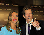 """Guiding Light's Kevin Bacon """"Tim Werner"""" (Search For Tomorrow) and Natalie Zea """"Gwen Hotchkiss"""" star in """"The Following"""", Fox's new tv series on Mondays and Kevin's first tv series, which held its world premiere on January 19, 2013 at the New York Public Library, New York City, New York. (Photo by Sue Coflin/Max Photos)"""