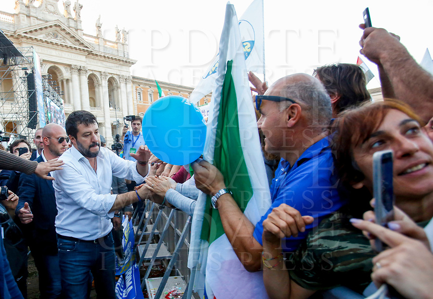 """Italian far-right League party's leader Matteo Salvini greets fans at the end of the so-called """"Italian Pride!"""" political rally against government's economic policies in St. John Lateran Square, Rome, Italy, October 19, 2019.<br /> Update Images Press/Riccardo De Luca"""