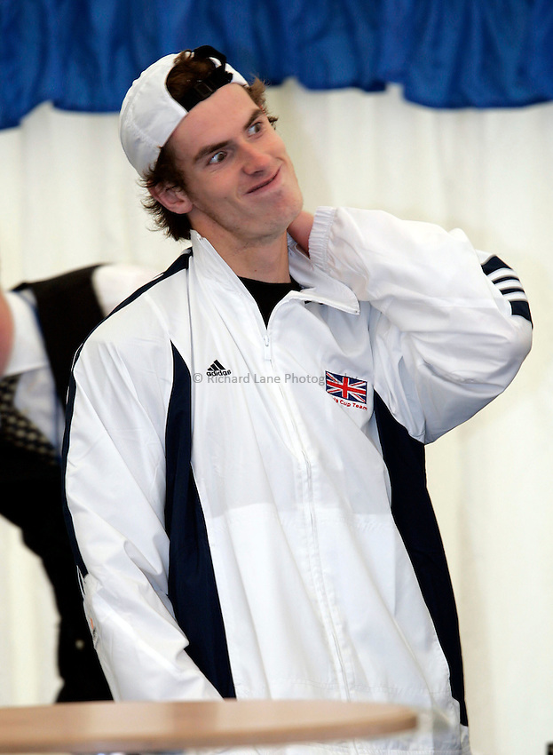 Photo: Tom Ross. .Great Britain v Serbia & Montenegro. Davis Cup, Glasgow. 6/04/2006. .Andy Murray prior to the press conference.