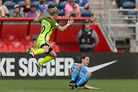 Bridgeview, IL - Sunday June 04, 2017: Jess Fishlock, Taylor Comeau during a regular season National Women's Soccer League (NWSL) match between the Chicago Red Stars and the Seattle Reign FC at Toyota Park. The Red Stars won 1-0.