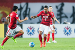 Guangzhou Midfielder Paulinho Maciel (R) in action during the AFC Champions League 2017 Round of 16 match between Guangzhou Evergrande FC (CHN) vs Kashima Antlers (JPN) at the Tianhe Stadium on 23 May 2017 in Guangzhou, China. (Photo by Power Sport Images/Getty Images)