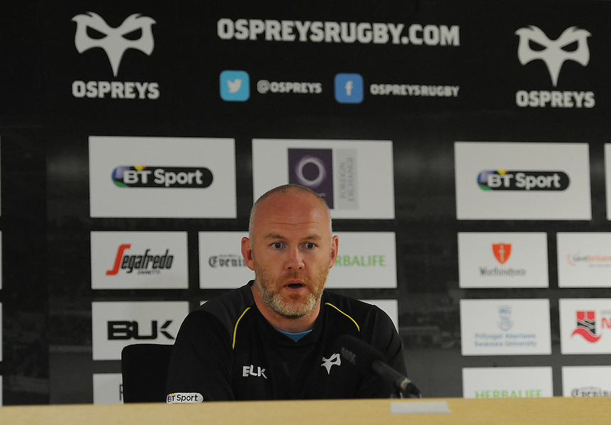 Ospreys Rhys Webb during the post match interview <br /> <br /> Photographer Ashley Crowden/CameraSport<br /> <br /> Rugby Union - Guinness PRO12 - Ospreys v Edinburgh Rugby - Sunday 21st September 2014 - The Liberty Stadium - Swansea<br /> <br /> &copy; CameraSport - 43 Linden Ave. Countesthorpe. Leicester. England. LE8 5PG - Tel: +44 (0) 116 277 4147 - admin@camerasport.com - www.camerasport.com