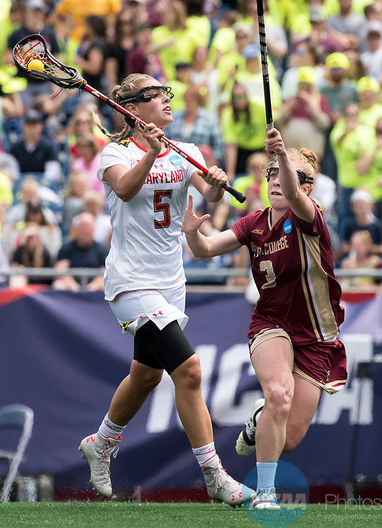 FOXBORO, MA - MAY 28:  Jen Giles #5 of the Maryland Terrapins with the ball during the Division I Women's Lacrosse Championship held at Gillette Stadium on May 28, 2017 in Foxboro, Massachusetts. <br /> (Photo by Ben Solomon/NCAA Photos via Getty Images)