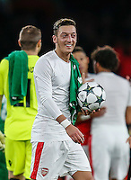 Mesut Ozil of Arsenal with the match ball after scoring a hat-trick against Ludogorets Razgrad during the UEFA Champions League match between Arsenal and PFC Ludogorets Razgrad at the Emirates Stadium, London, England on 19 October 2016. Photo by David Horn / PRiME Media Images.