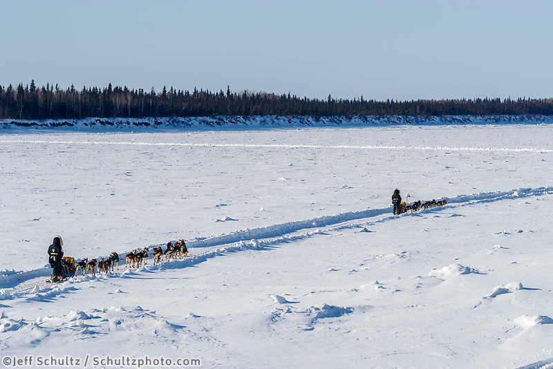 Anna Berington leads her twin sister Kristie down the Yukon River shorlty after leaving the Tanana checkpoint during the 2017 Iditarod on Wednesday afternoon March 8, 2017.<br /> <br /> Photo by Jeff Schultz/SchultzPhoto.com  (C) 2017  ALL RIGHTS RESERVED