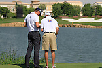 Robert Karlsson and caddy on the par3 6th tee during Day 1 of the Dubai World Championship, Earth Course, Jumeirah Golf Estates, Dubai, 25th November 2010..(Picture Eoin Clarke/www.golffile.ie)