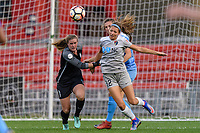 Bridgeview, IL - Sunday September 03, 2017: Alyssa Naeher, Ashley Hatch during a regular season National Women's Soccer League (NWSL) match between the Chicago Red Stars and the North Carolina Courage at Toyota Park. The Red Stars won 2-1.
