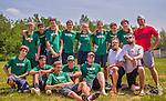 30 May 2015: The Vermont Commons School Flying Turtles pose for a team photo after playing Mount Mansfield Union High School in a consolation round of the VYUL State Ultimate Disk Championships at Bombardier Park in Milton, Vermont. VCS defeated MMU to clinch 5th place overall in the State Championships. Mandatory Credit: Ed Wolfstein Photo *** RAW (NEF) Image File Available ***