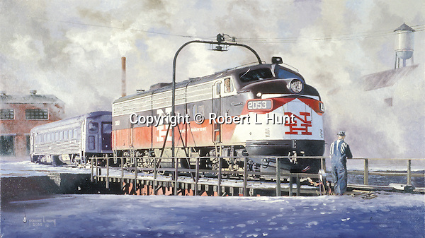 "A New Haven Railroad F9 diesel unit on the turntable in the Connecticut snow and cold. Oil on canvas, 16"" x 28""."