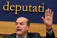 Roma, 29 Marzo 2017<br /> Pierluigi Bersani durante la conferenza stampa promossa dai Moderati e Riformisti di centrosinistra sui temi del lavoro e dell'occupazione giovanile.