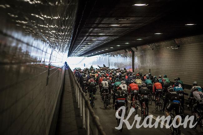 part of the neutralised section sent the peloton under the Schelde river via the famous 'Konijnenpijp' tunnel<br /> <br /> 102nd Ronde van Vlaanderen 2018 (1.UWT)<br /> Antwerpen - Oudenaarde (BEL): 265km