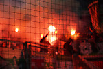 18.01.2020, Merkur Spielarena, Duesseldorf , GER, 1. FBL,  Fortuna Duesseldorf vs. SV Werder Bremen,<br />  <br /> DFL regulations prohibit any use of photographs as image sequences and/or quasi-video<br /> <br /> im Bild / picture shows: <br /> Pyrotechnik, Feuerwerk, Rauch, Gefahr, Feuer, Leuchtfeuer, Kurzve    Bremen mit Netz <br /> <br /> Foto © nordphoto / Meuter