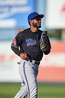Missoula Osprey left fielder Cesar Garcia (8) jogs off the field between innings of a Pioneer League game against the Great Falls Voyagers at Centene Stadium at Legion Park on August 19, 2019 in Great Falls, Montana. Missoula defeated Great Falls 4-1 in the first game of a doubleheader. Games were moved from Missoula after Ogren Park at Allegiance Field, the Osprey's home field, was ruled unplayable. (Zachary Lucy/Four Seam Images)