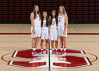 STANFORD, CA - September, 20, 2016: The 2016-2017 Stanford Women's Basketball Team. Shannon Coffee (2), Marta Sniezek (13), Alexa Romano (22), Alanna Smith (11).