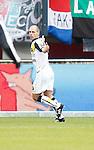 Nederland, Nijmegen, 2 december 2012.Eredivisie .Seizoen 2012-2013.N.E.C.-NAC Breda.Anthony Lurling van NAC Breda juicht nadat hij de 0-1 heeft gescoord.