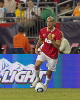 Manchester United FC forward Gabriel Obertan (26) brings the ball forward. In a Herbalife World Football Challenge 2011 friendly match, Manchester United FC defeated the New England Revolution, 4-1, at Gillette Stadium on July 13, 2011.