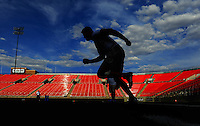 Jun. 13, 2009; Las Vegas, NV, USA; Sam Lightbody runs the 20 yard dash during the United Football League workout at Sam Boyd Stadium. Mandatory Credit: Mark J. Rebilas-