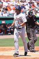 Detroit Tigers shortstop Jhonny Peralta (27) after he hit a home run against the Miami Marlins during a spring training game at the Roger Dean Complex in Jupiter, Florida on March 25, 2013. Detroit defeated Miami 6-3. (Stacy Jo Grant/Four Seam Images)........