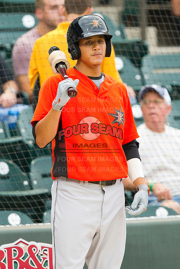 Shortstop Manny Machado #3 of the Frederick Keys waits in the on deck circle during the Carolina League game against the Winston-Salem Dash at BB&T Ballpark on August 5, 2011 in Winston-Salem, North Carolina.  The Dash defeated the Keys 10-0.   Brian Westerholt / Four Seam Images