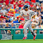 28 August 2010: St. Louis Cardinals outfielder Jon Jay rounds third on a home run against the Washington Nationals at Nationals Park in Washington, DC. The Nationals defeated the Cards 14-5 to take the third game of their 4-game series. Mandatory Credit: Ed Wolfstein Photo