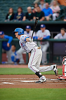 Round Rock Express second baseman Josh Wilson (11) follows through on a swing during a game against the Memphis Redbirds on April 28, 2017 at AutoZone Park in Memphis, Tennessee.  Memphis defeated Round Rock 9-1.  (Mike Janes/Four Seam Images)