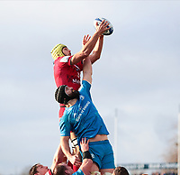 12th January 2020; RDS Arena, Dublin, Leinster, Ireland; Heineken Champions Champions Cup Rugby, Leinster versus Lyon Olympique Universitaire; Virgile Bruni (Lyon) gathers the lineout ball under pressure from Scott Fardy (Captain Leinster)  - Editorial Use