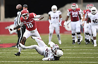 NWA Democrat-Gazette/J.T. WAMPLER Arkansas' La'Michael Pettway can't make the catch as Mississippi State's Lashard Durr defends Saturday Nov. 18, 2017 at Donald W. Reynolds Razorback Stadium in Fayetteville. Arkansas lost 21-28.