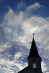 Bethel Park church steeple against sirus clouds