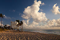 Lifeguard Tower at Sunrise, Fort Lauderdale Beach, Florida, USA.