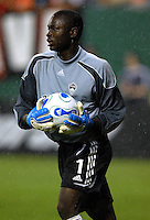 Colorado Rapids goal keeper Bouna Coundoul (1) collects the ball during the game. DC United defeated Colorado Rapids 4-1, at RFK Stadium in Washington DC, Thursday June 28, 2007.