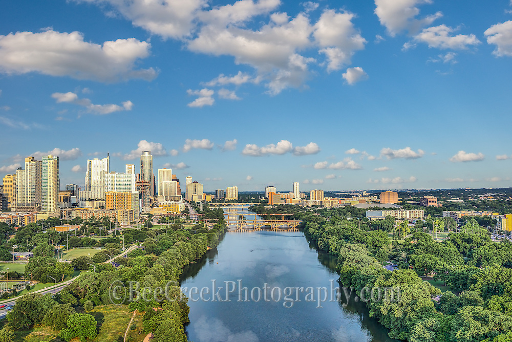Another aerial view of downtown Austin from Zilker park with LadyBird Lake along with the Lamar street bridge, first street bridge and congress bridges that cross the lake.  On this day they were letting water downstream so it was one of those rare days without anyone on the lake.We were able to capture this high quality aerial image because we use a full frame camera on our drone for out still photographs so we can get the best image which can be printed easlity as a 20 x 60 or larger size without loss of resolution.​