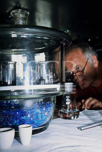 Serbia, Yugoslavia. Water treatment; male worker in the laboratory looking at flasks in a glass desiccator which has cobalt chloride desiccant crystal beads in the base.