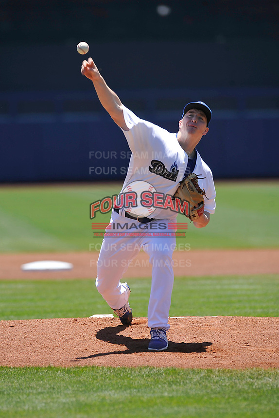 Tulsa Drillers starting pitcher Josh Sborz (27) throws during a game against the Arkansas Travelers at Oneok Field on May 21, 2017 in Tulsa, Oklahoma.  The Drillers won 13-6. (Dennis Hubbard/Four Seam Images)
