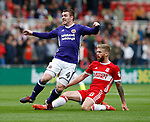 John Fleck of Sheffield Utd  tackled by Adam Clayton of Middlesbrough during the Championship match at the Riverside Stadium, Middlesbrough. Picture date: August 12th 2017. Picture credit should read: Simon Bellis/Sportimage