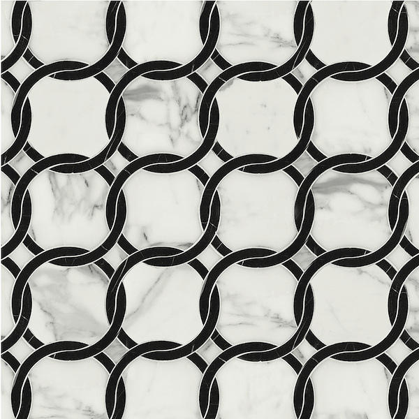 Connecting Circles, a waterjet stone mosaic shown in Calacatta and polished Nero Marquina, is part of the Silk Road Collection by Sara Baldwin for New Ravenna Mosaics. <br /> <br /> Take the next step: prices, samples and design help, http://www.newravenna.com/showrooms/