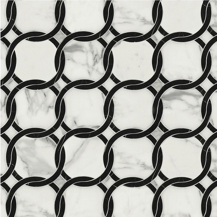 Connecting Circles, a waterjet stone mosaic shown in Calacatta and polished Nero Marquina, is part of the Silk Road® collection by New Ravenna.