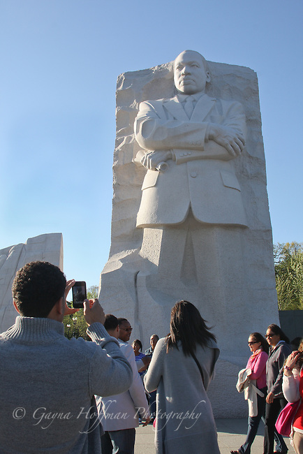 Visitors at the Martin Luther King, Jr. Monument. DC