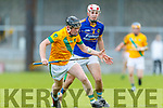 Jeremy McKenna Lixnaw in action against Daniel Collins Kilmoyley during the Senior Kerry County Hurling Semi Finals between Lixnaw v Kilmoyley at Austin Stack park on Saturday last.