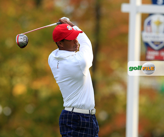 Tiger Woods during Friday's Morning Foursomes Matches of the 39th Ryder Cup at Medinah Country Club, Chicago, Illinois 28th September 2012 (Photo Eoin Clarke/www.golffile.ie)