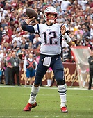 New England Patriots quarterback Tom Brady (12) looks for a receiver during the fourth quarter of the game against the Washington Redskins at FedEx Field in Landover, Maryland on Sunday, October 6, 2019.  The Patriots won the game 33 - 7.<br /> Credit: Ron Sachs / CNP