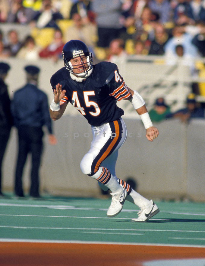 Chicago Bears Gary Fencik (45) during a game from his career at Soldier Field in Chicago, Illinois.  Gary Fencik played for 12 years, all with the Chicago Bears and was a 2-time Pro Bowler.